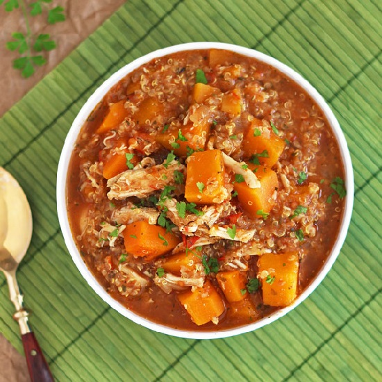 Slow Cooker Butternut Squash Chicken Quinoa Stew