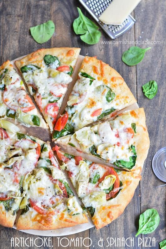 Artichoke, Tomato, and Spinach Pizza