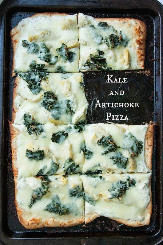 Kale and Artichoke Pizza with Roasted Garlic Ricotta