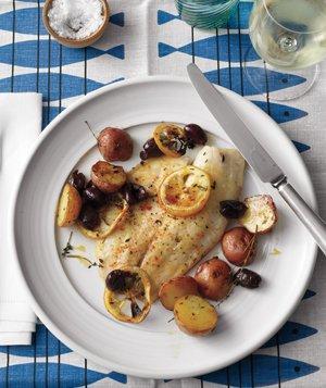 Roasted Tilapia, Potatoes, and Lemons