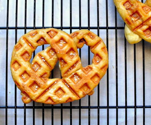 Waffled soft pretzels