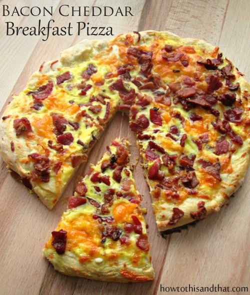 Easy Homemade Bacon Cheddar Breakfast Pizza