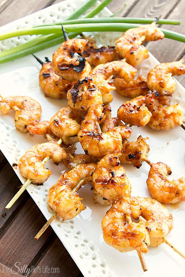 Asian Marinated Grilled Shrimp Skewers