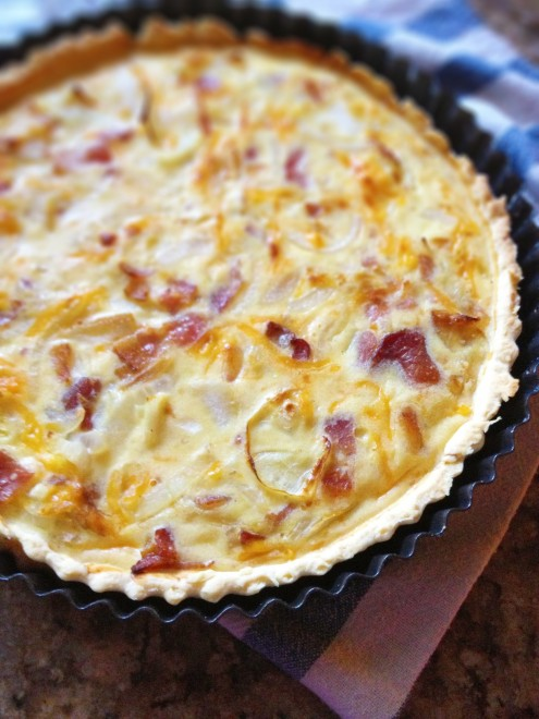 Bacon and Cheddar Tart with Caramelized Onion