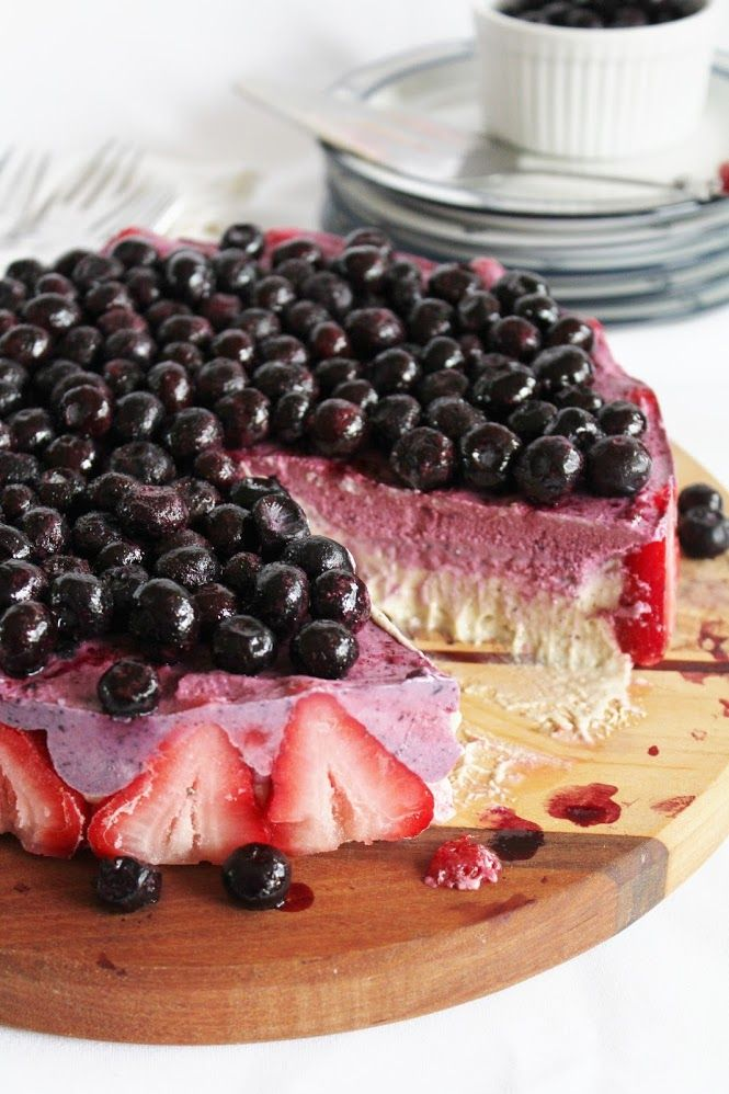 Blueberry Strawberry Banana Ice Cream Cake
