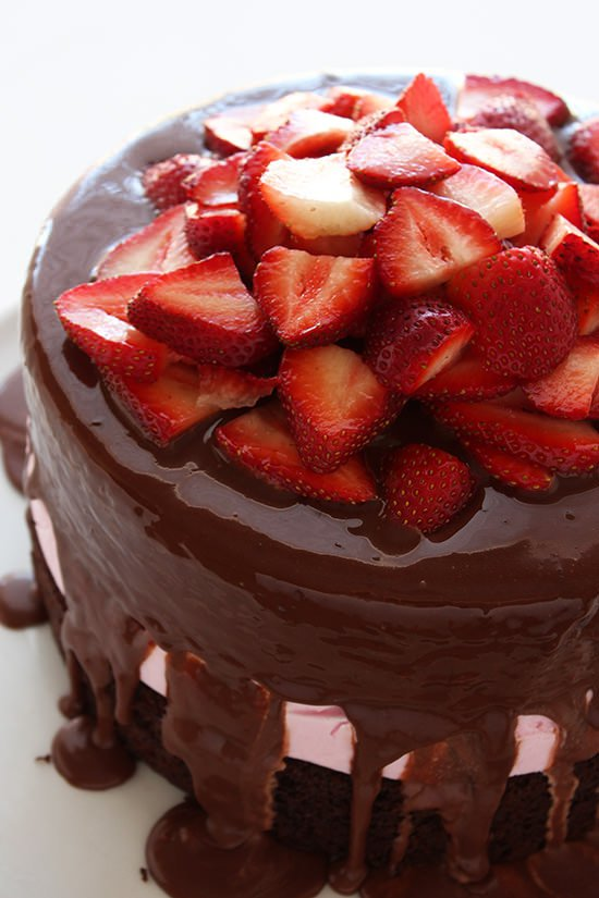 Chocolate Covered Strawberry Ice Cream Cake