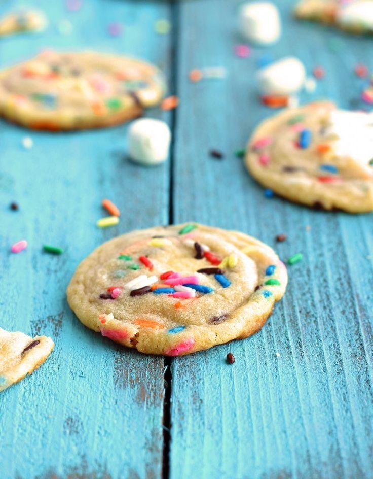 Gooey Marshmallow Funfetti Cookies
