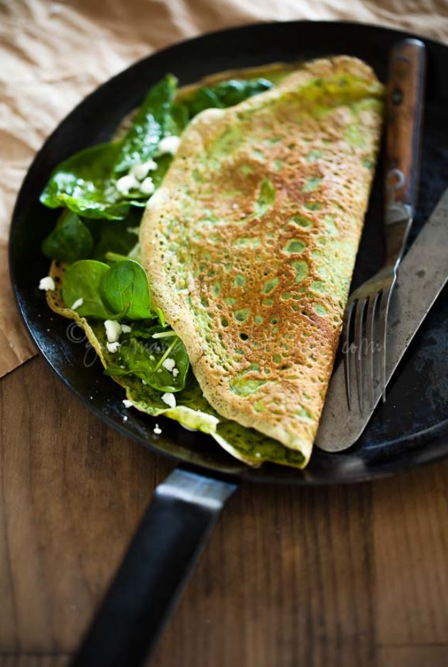 Thin Green Spinach and Herb Omelettes aka Flourless Crêpes Recipe