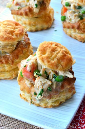 Chicken Pot Pies in Puff Pastry Shells