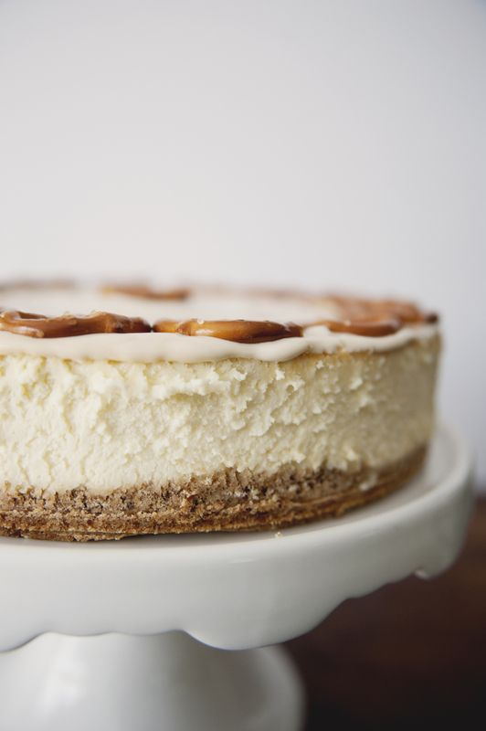 New York Cheesecake with Graham-Pretzel Crust & Salted Caramel Sour Cream Topping