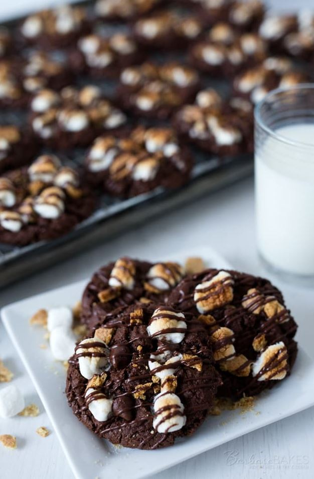 Triple Chocolate S'mores Cookies