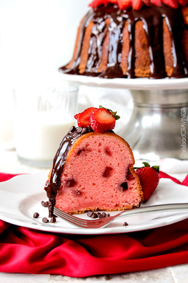 Chocolate Covered Fresh Strawberry Pound Cake