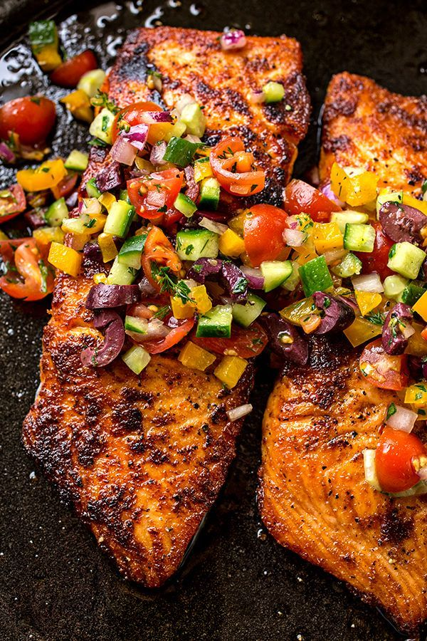 Pan Seared Salmon with Mediterranean Salsa Fresca and Toasted Couscous
