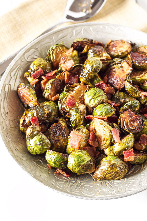Balsamic Maple Roasted Brussels Sprouts with Bacon
