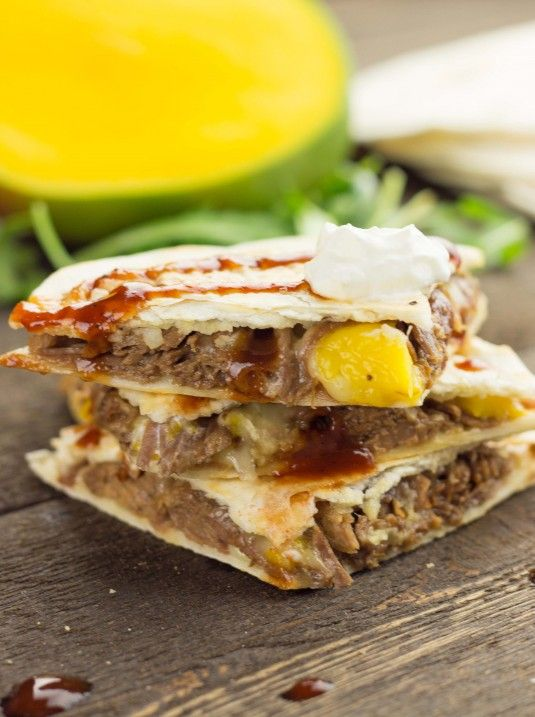 Barbecue Brisket Quesadillas with Mango