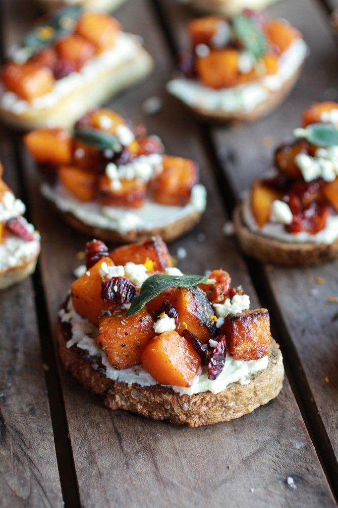 Caramelized Butternut Squash and Gorgonzola Crostini