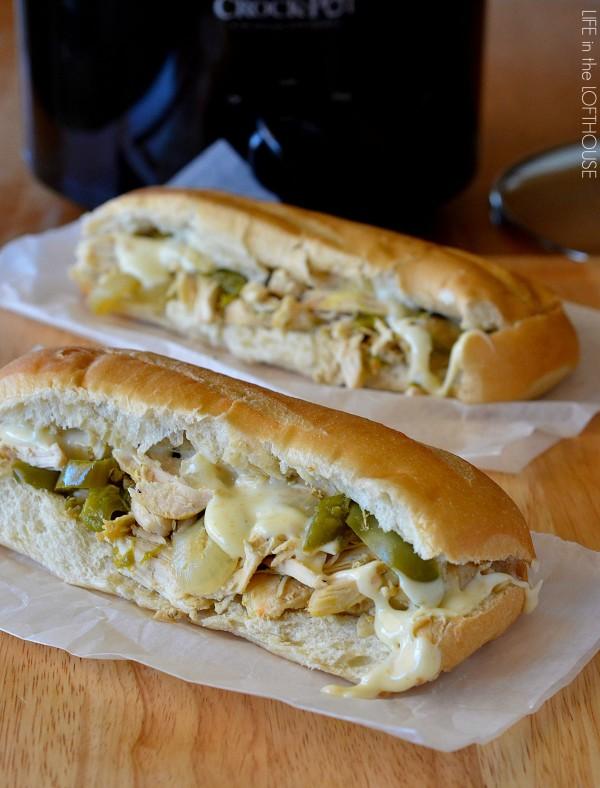 Crock Pot Chicken Cheesesteak Sandwiches