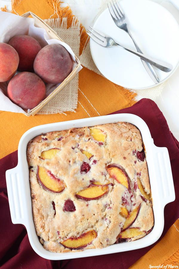 Peach Raspberry Breakfast Cake