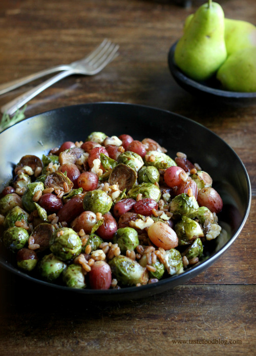 Pomegranate Roasted Brussels Sprouts with Red Grapes and Farro