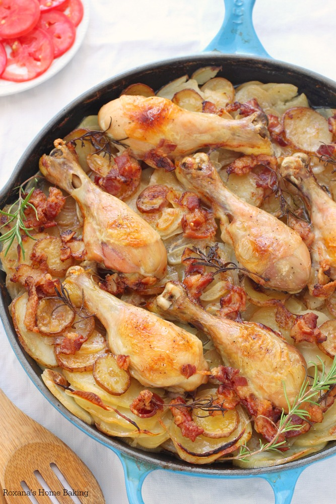Slow Baked Potatoes and Chicken Skillet