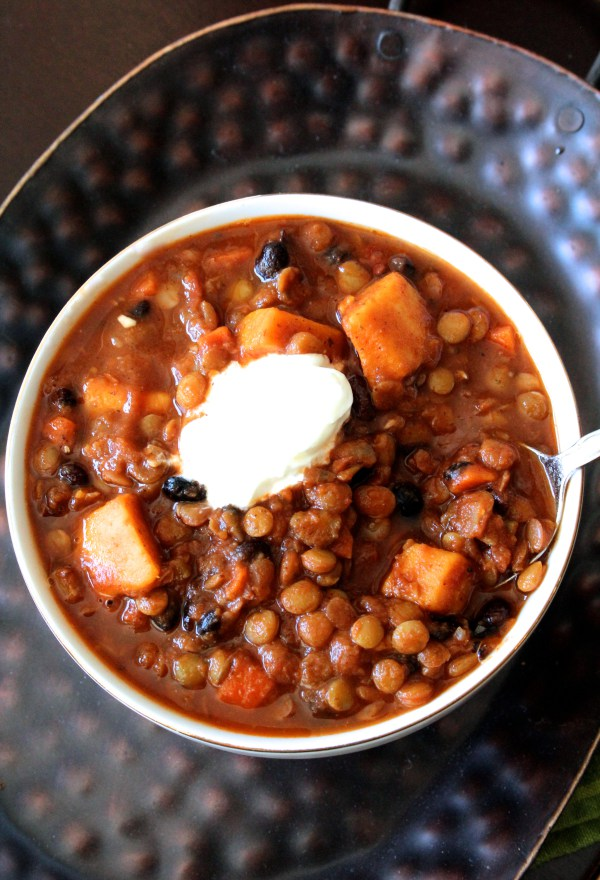 Sweet Potato, Black Bean, and Lentil Chili