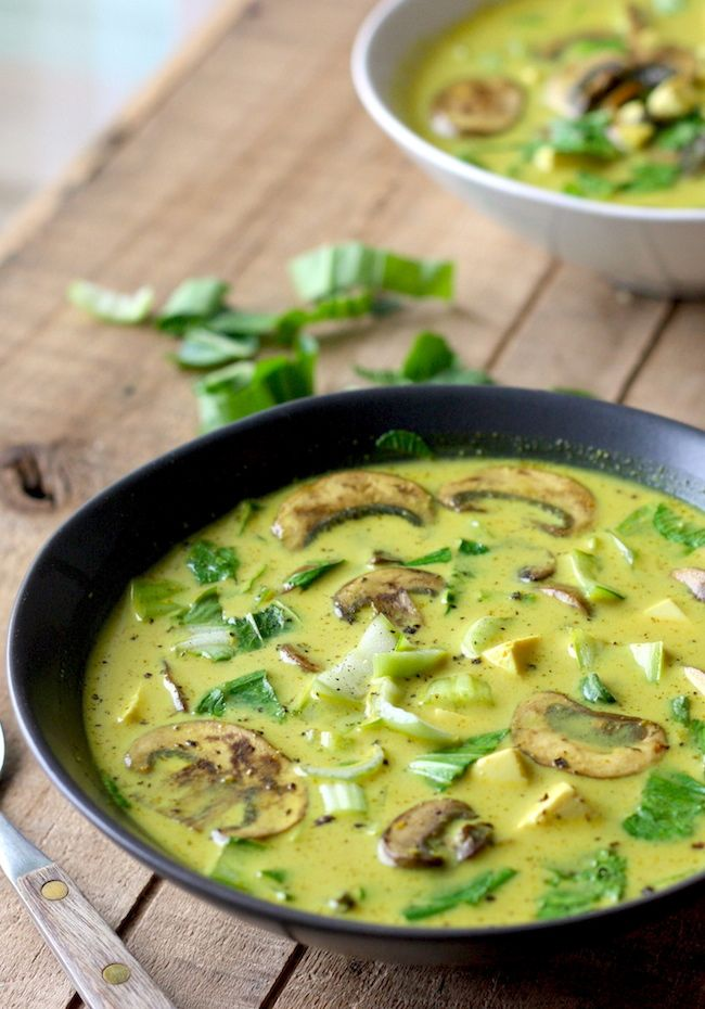 Thai Coconut Soup with Bok Choy and Mushrooms