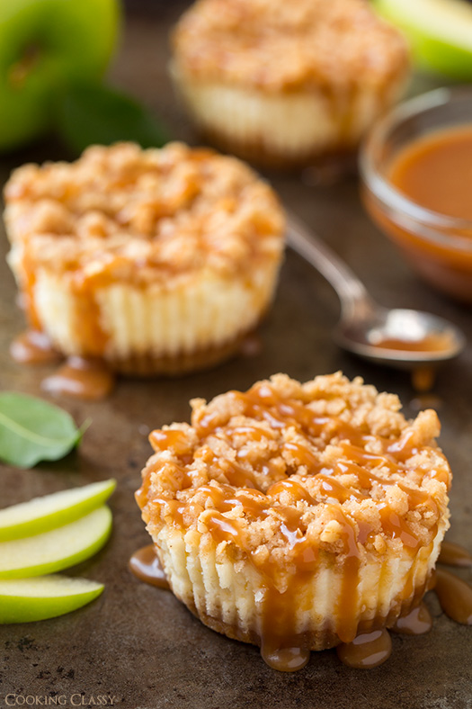 Caramel Apple Mini Cheesecakes with Streusel Topping