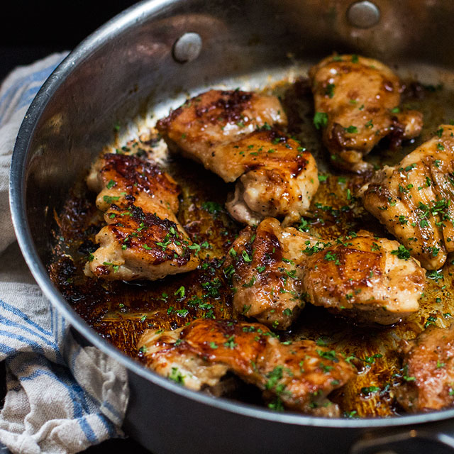 One Skillet Sweet 'n Salty Chicken Thighs