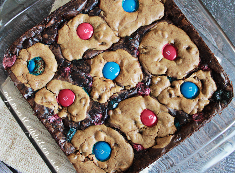 Ooey Gooey Cookie Brownies with M&M's
