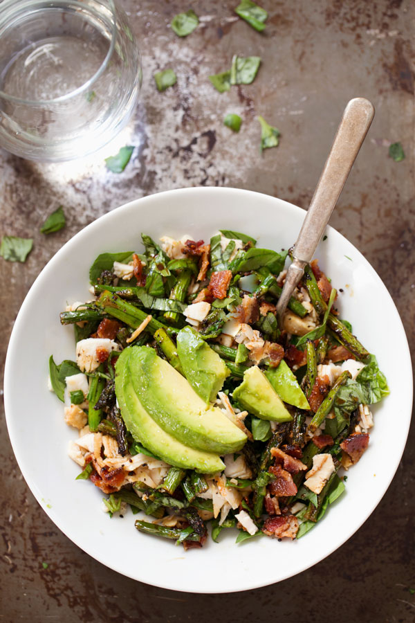 Chicken Bacon Avocado Salad with Roasted Asparagus
