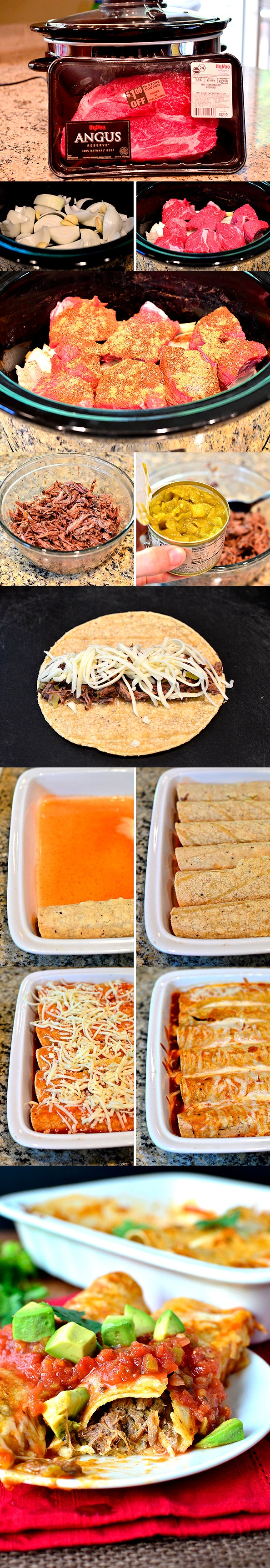 Crock Pot Shredded Beef Enchiladas