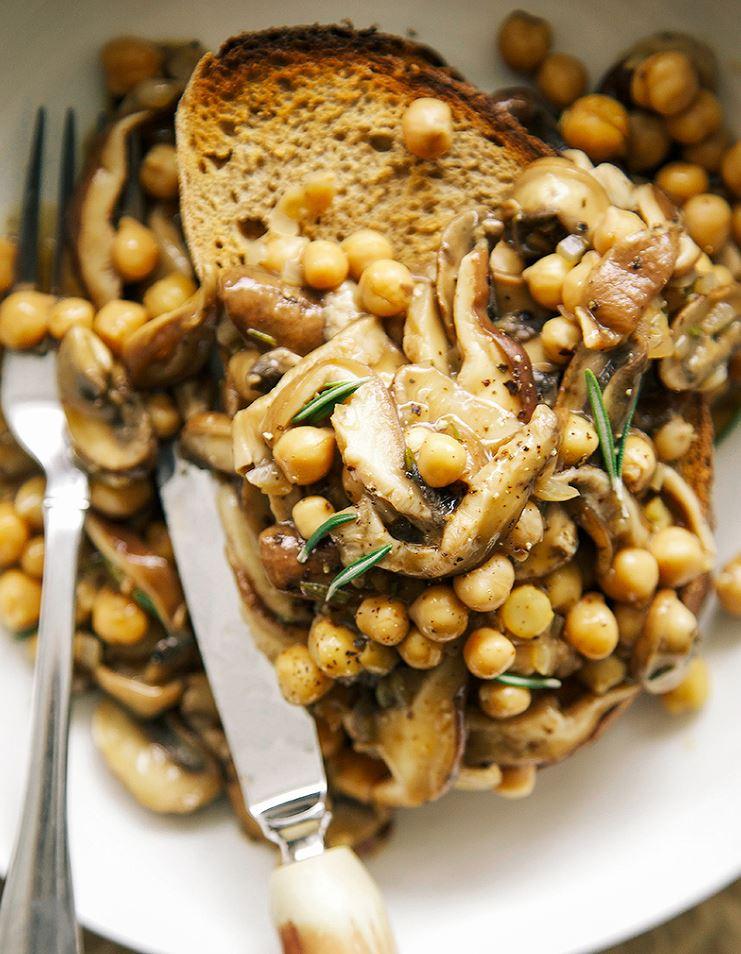 Rosemary Mushroom + Chickpea Ragoût on Toast